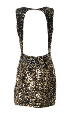 GUESS MARCIANO Black and Gold sequin dress - back
